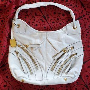 B Makowsky White leather shoulder bag